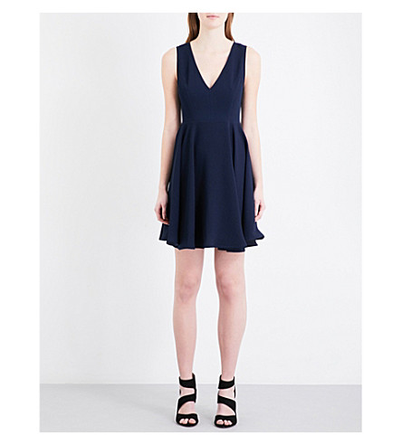 SANDRO Flared crepe dress (Navy+blue