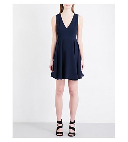 SANDRO Flared crepe dress (Navy+blue