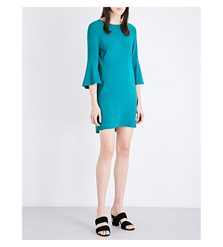 SANDRO Flared-sleeves crêpe dress (Emeuraude+green