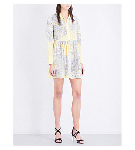 SANDRO Floral silk-crepe dress (Yellow