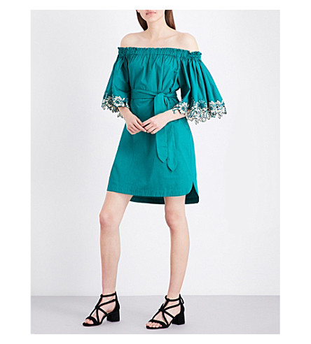 SANDRO Off-the-shoulder cotton-poplin dress (Green