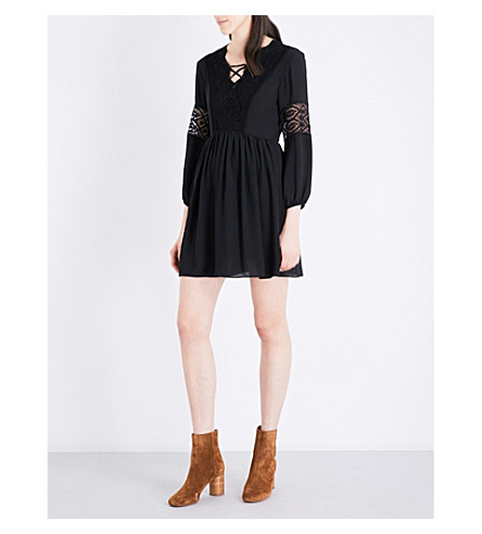 SANDRO Floral-lace and chiffon mini dress (Black