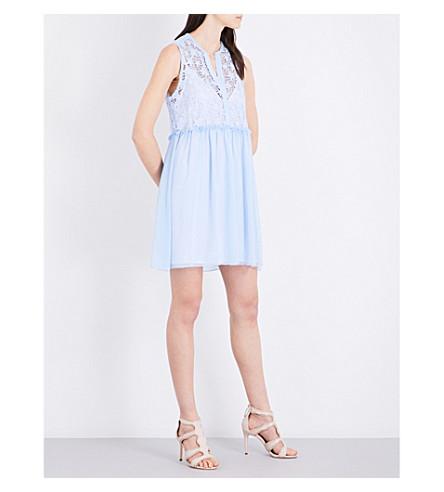 SANDRO Star-embroidered chiffon dress (Sky+blue