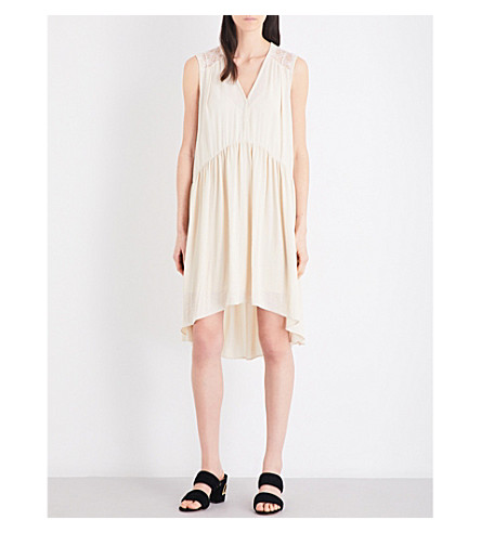 SANDRO Flared chiffon dress (Beige
