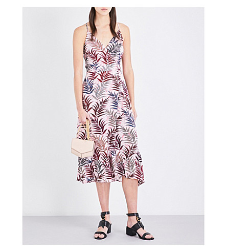 SANDRO Leaf-print silk dress (Pink