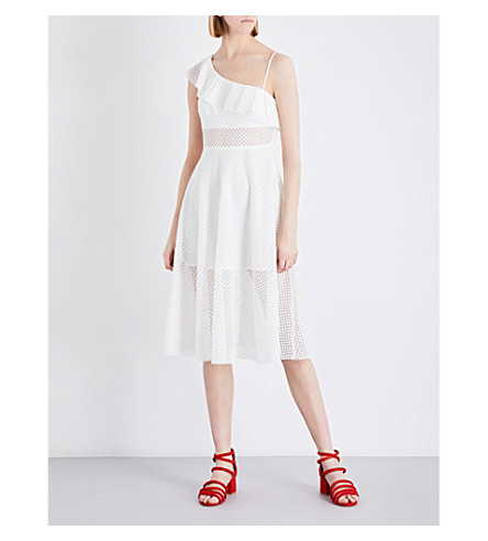 SANDRO Ruffled cotton-blend midi dress (Ecru