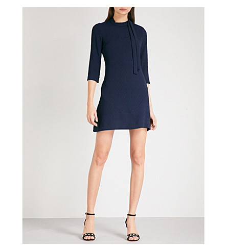 SANDRO Lace-panel crepe mini dress (Navy+blue