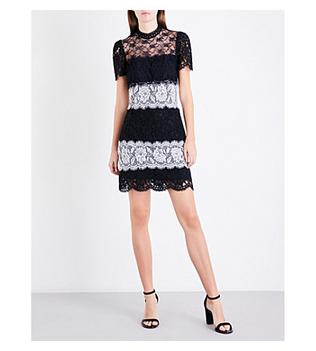 SANDRO High-neck floral-lace dress (Black