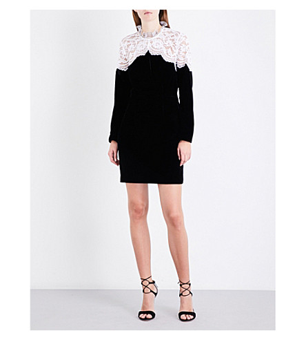SANDRO Floral-lace velvet dress (Black
