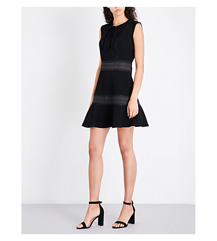 SANDRO Embroidered-detail crepe dress (Black