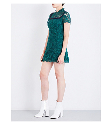 SANDRO Eyelash-trimmed lace dress (Moss+green