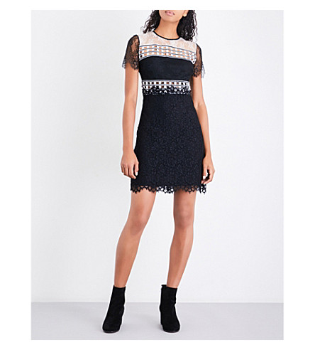 SANDRO Embroidered-panel floral-lace dress (Black