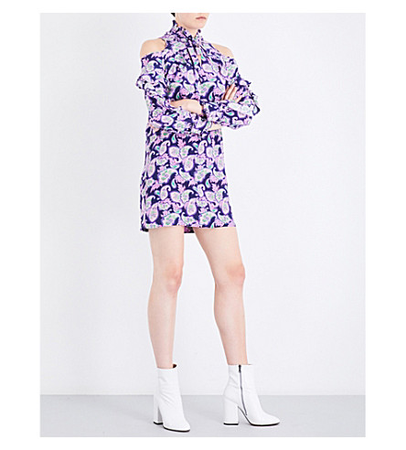 SANDRO Paisley-print silk dress (Mauve