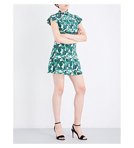 SANDRO Paisley-patterned silk dress (Moss+green