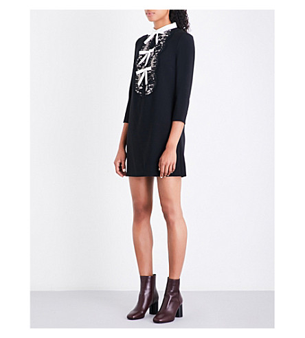 SANDRO Bow-detail and floral-lace woven dress (Black
