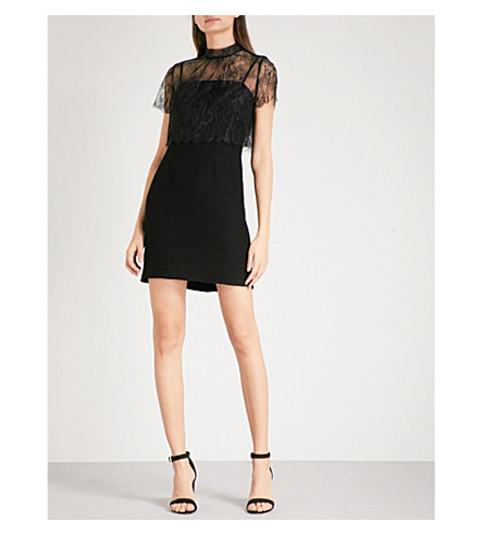 SANDRO Lace-overlay mini dress (Black