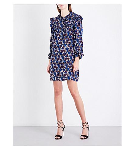 SANDRO Paisley-print gathered-trims silk dress (Multi-color