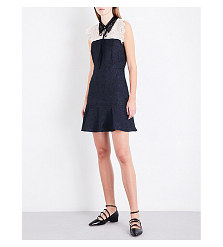 SANDRO Floral-lace yoke jacquard dress (Black