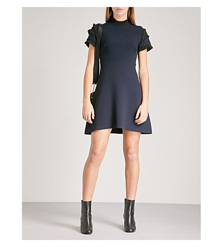 SANDRO Metallic-trim fit-and-flare crepe mini dress (Navy+blue