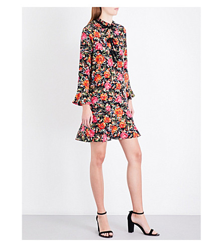 SANDRO Floral-print silk dress (Multi-color