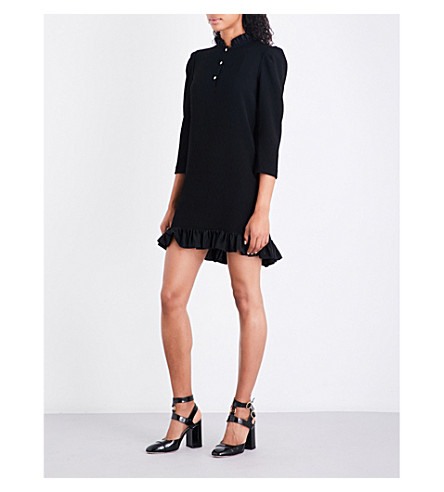 SANDRO Gathered-hem high-neck crepe dress (Black
