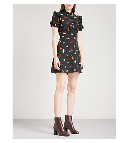 SANDRO Tattoo-print silk-crepe mini dress (Black