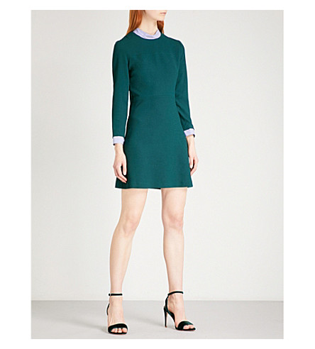 SANDRO Striped-detail high-neck crepe dress (Green