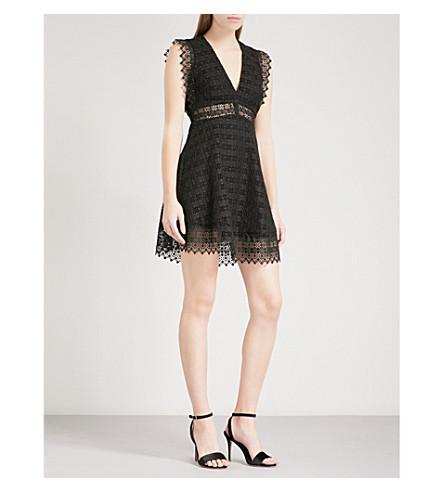 SANDRO V-neck geometric-lace mini dress (Black
