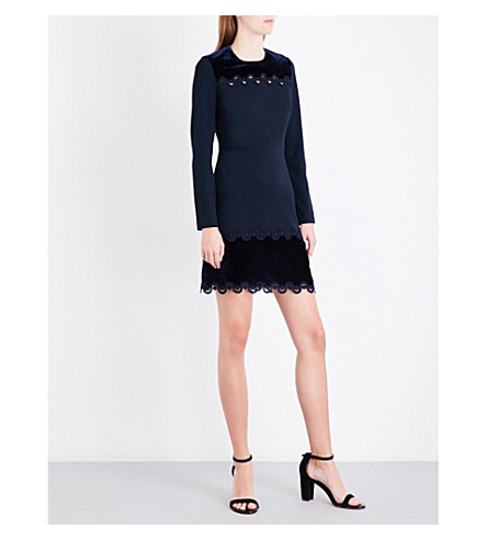 SANDRO Velvet-panels jersey dress (Navy+blue