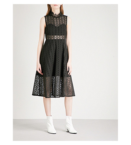 SANDRO Fit-and-flare lace dress (Black
