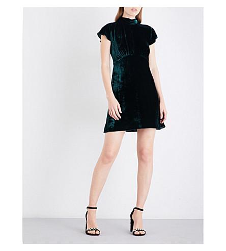 SANDRO High neck velvet mini dress (Forest+green
