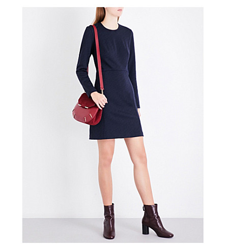 SANDRO Floral-lace panel stretch-jersey dress (Navy+blue