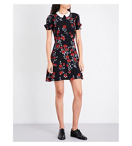 SANDRO Rose-patterned crepe dress (Black