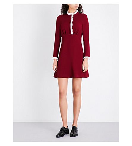 SANDRO Frilled lace-trim crepe dress (Burgundy