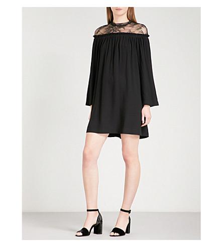 SANDRO Floral-lace and crepe mini dress (Black