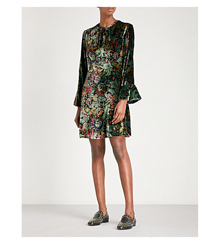 SANDRO Floral velvet dress (Multi-color