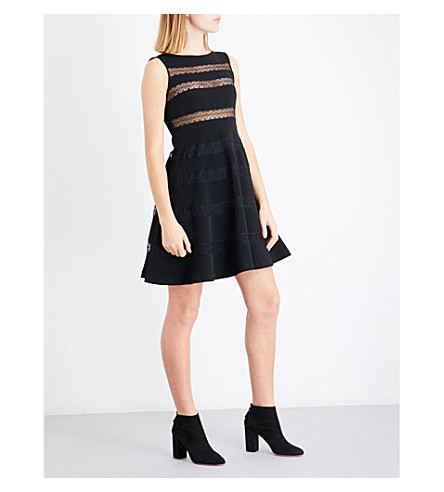 SANDRO Lace-panel crepe and lace dress (Black