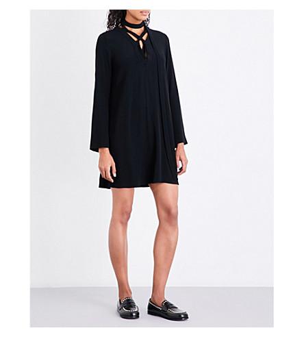 SANDRO Neck-tie crepe dress (Black