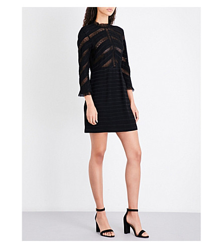 SANDRO Floral lace-panel crepe and lace dress (Black
