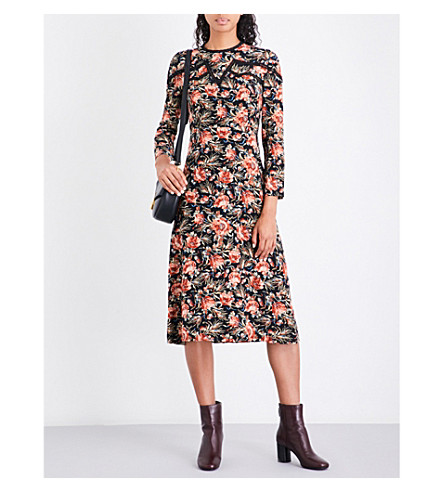 SANDRO Floral-print silk dress (Multi+color