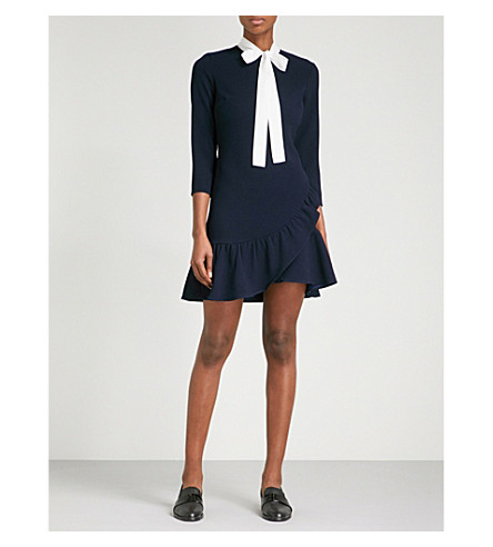 SANDRO Contrast-collar fit-and-flare crepe mini dress (Navy+blue