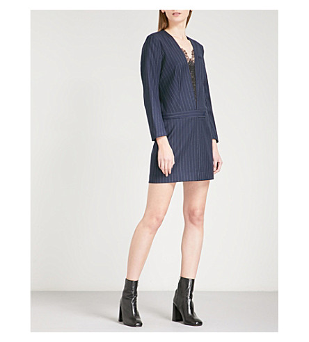 SANDRO Floral-lace pinstriped wool-blend mini dress (Navy+blue