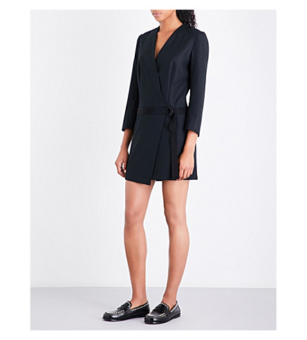 SANDRO Wrap-front woven dress (Black