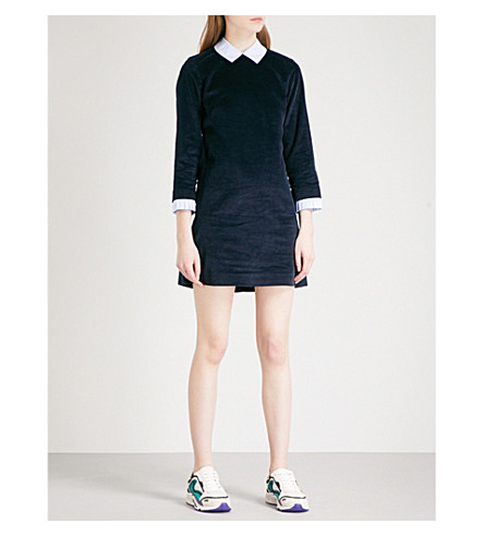 SANDRO Contrast-collar corduroy dress (Navy+blue