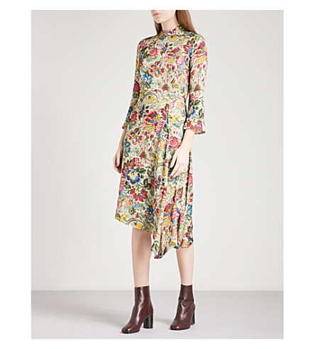 SANDRO Floral-print satin-twill midi dress (Multi-color