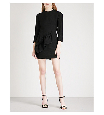 SANDRO Ruffled plissé mini dress (Black
