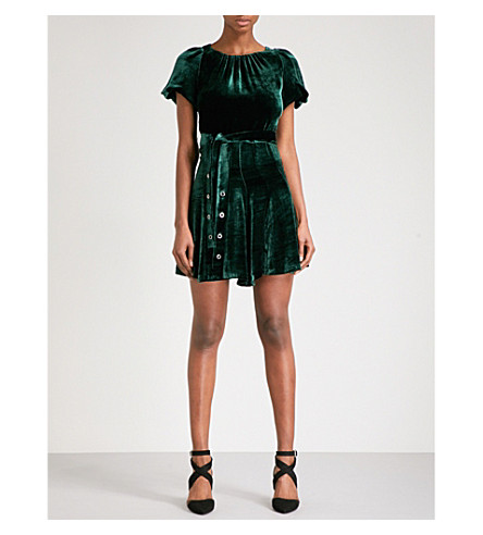 SANDRO Tie-waist velvet dress (Green