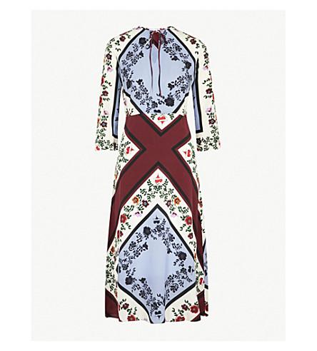 SANDRO Floral-print silk dress (Multi+color