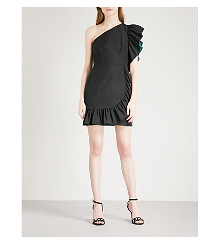 SANDRO One-shoulder ruffled poplin mini dress (Black
