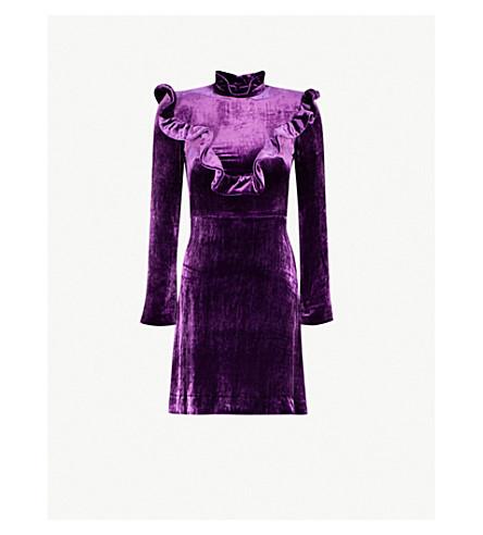 SANDRO High-neck velvet dress (Purple